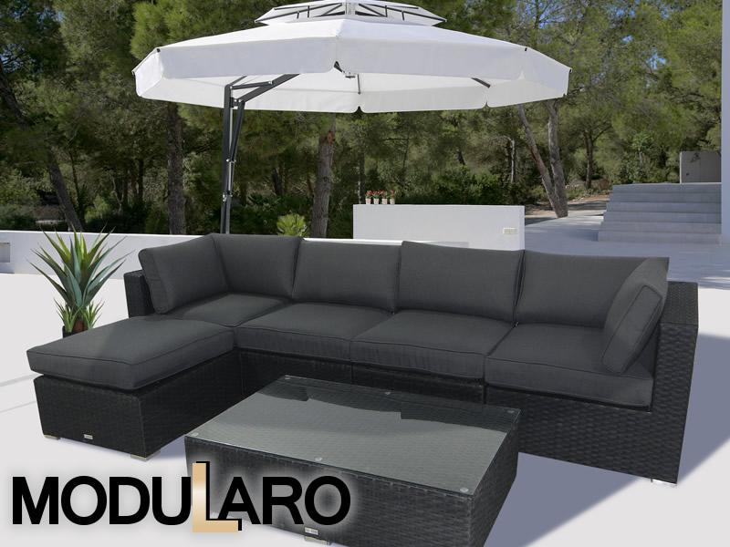 Mobiliario de jardín de poliratán en un concepto modular único