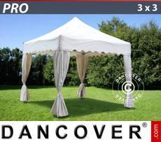 cenador de jardn pro 3x3 m de blanco cenefa curva y 4 cortinas de